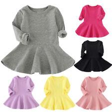 New Toddler Kids Baby Girls Long Sleeve Dress Princess A-Line Short Winter Dress