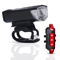 Wireless USB Rechargeable LED Bicycle Cycle Bike Headlight &Taillight Waterproof