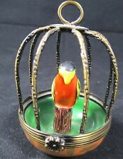 Exquisite Peint Main Parrot in a Brass Cage Gerard Ribierre