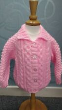 New: Hand Knitted Collared Aran style Jacket/Cardigan Baby Pink 3-6 mths
