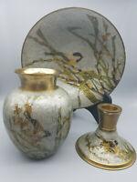 Vase Schale Kerzenständer Emaille Messing Set