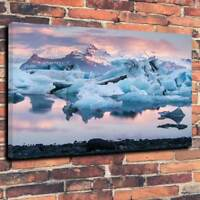 """Iceland , Icebergs Winter Scene Printed Box Canvas Picture A1.30""""x20"""" 30mm Deep"""
