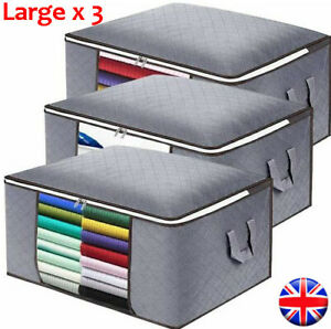 3 Duvet Bedding Clothing Storage Under Bed Bag Large Underbed Bags Fabric Zipped
