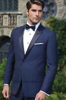 New Ike Behar Blake Navy Midnight Blue Wool Tuxedo Slim Fit FREE Vest & Bow Tux