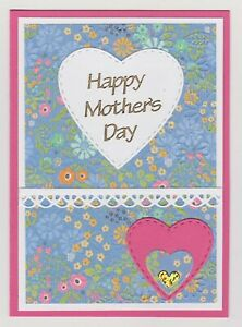 Blank Handmade Greeting Card ~ HAPPY MOTHER'S DAY with FLOWERS AND HEARTS