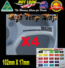 Advan Racing RGII wheel Rim decals 102mm X 17mm 4 in a set JDM DRIFT