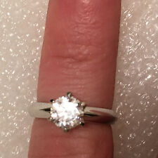 Solitaire Diamond Engagement Ring 2ct 14k White Gold Toned Round Brilliant Cut 6