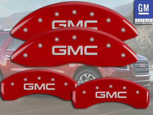 "2000-2006 ""GMC"" Yukon 4x4 4x2 Front + Rear Red MGP Brake Disc Caliper Covers"