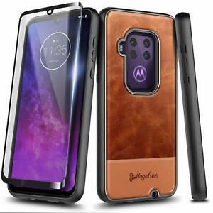 For Motorola Moto One Zoom Case Rugged Shockproof Leather Cover +Tempered Glass