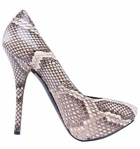 DOLCE & GABBANA Snakeskin Plateau Pumps Heels Shoes Python Brown 03984