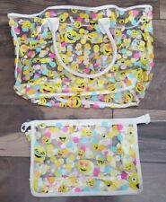 Emoji PVC Signature Multicolor Print Transparent Tote Purse Bag & Clutch Bag