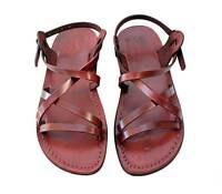 Jerusalem Biblical Jesus Sandals Brown Leather Strap Buckle Handmade for Women