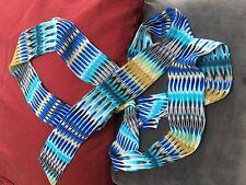 "Vintage 1970's Headband scarf belt~Blues black white gray mustard color 70"" long"