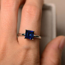 14K Solid White Gold Diamond Rings 1.50 Ct Princess Blue Sapphire Wedding Ring