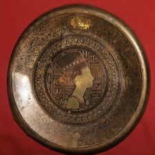 Vintage Egyptian Nefertiti brass souvenir wall hanging plate