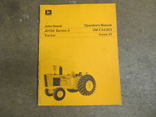 John Deere 700 series A Jd700 tractor owners & maintenance manual