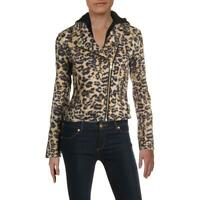 Aqua Womens Brown Animal Print Short Motorcycle Jacket Outerwear XS BHFO 4069