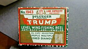 VTG PFLUEGER #1943 TRUMP LEVEL WIND FISHING REEL (BOX, INST.  ONLY)