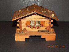 VINTAGE WOODEN SWISS CHALET CUENDET MUSIC BOX SWITZERLAND