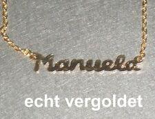 EDLE HALSKETTE MANUELA KETTE ECHT VERGOLDET NAMEN NAMENSCOLLIER NEU NAMENSKETTE
