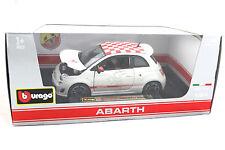 Bburago Star Abarth 2008 Fiat 500 White/Red Checker Roof 1/24 Diecast cars