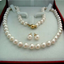 Charming 8-9MM White Akoya Pearl Necklace Earring Set AA 012