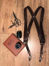 Dual Camera Harness Multicamera Shoulder Strap Leather Camera Harness Dark Brown