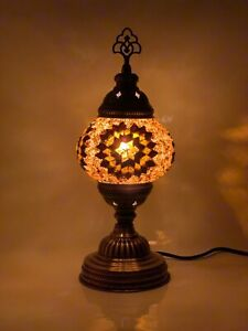Gold/Brown Colour Turkish Moroccan Mosaic Lamp Tiffany Glass Desk Table Lamp