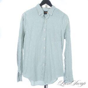 Rugby Ralph Lauren White Spearmint Green University Stripe OCBD Oxford Shirt M