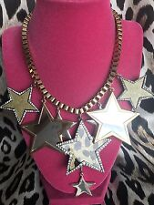 Betsey Johnson Fashion Fever Disco Vintage HUGE Leopard Mirror Star Necklace