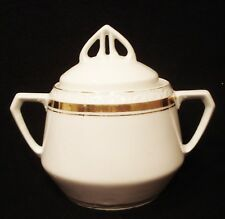 ANTIQUE P.K. SILESIA COVERED PORCELAIN SUGAR BOWL WHITE WITH GOLD TRIM
