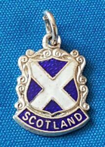 SCOTLAND  Silver  Vintage Souvenir Enamel Shield Charm