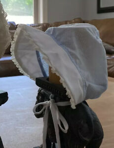 vintage 1980 baby Girls Bonnet Blue Cotton Swiss Dot White Trim Cap Preowned