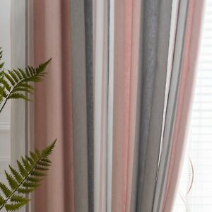 Pink and Gray S Striped Pattern Shade Curtain for Bedroom Sheer Tulle White
