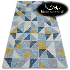 "AMAZING THICK MODERN SOFT RUGS ""NORDIC"" yellow triangle floor carpet small large"
