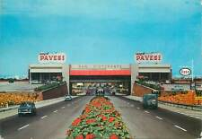 Postcard restaurant cuisine bar cafe food eat pavesi autogrill cars road flowers