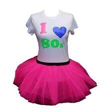 I LOVE 80S NEON TUTU SKIRT 80'S  PINK FANCY DRESS TSHIRT SET HEN PARTY BEADS FLO