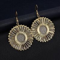 Tassel Round Charm Earrings Boho Style Vintage Disc Frosted Earrings Jewelry S