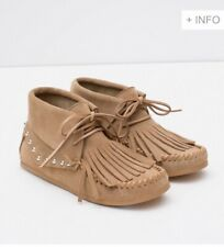 Zara Studded Leather Ankle Boots In Sand BNIB Size Uk 4