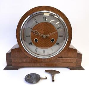 Smiths Enfield Vintage Wooden Mantel Clock England w/ Winding Key Spares/Repairs