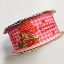 Strawberry ShortCake Offray Grosgrain Ribbon Vintage 7 yds Woven Edge Pink Plaid