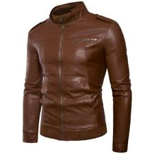 Men's Slim Fit Leather Jacket Stand Collar Long Sleeve Zipper Motorcycle Leisure