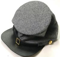 CIVIL WAR CSA CONFEDERATE GREY WOOL FORAGE BUMMER CAP HAT-LARGE
