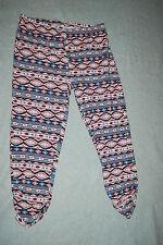 Womens CAPRI LEGGINGS Cinched Gathered Leg AZTEC TRIBAL Black Pink Teal M 8-10
