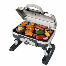 Gas Grill Portable Tabletop Wth Aluminum Legs 5500 BTU Folding Table Base Silver