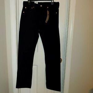 Levis 501 Original Fit Jeans Straight Leg Button Fly 100% Cotton Black 33x34