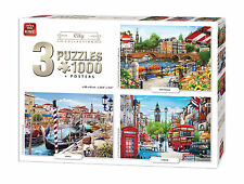 3:1 Jigsaw Puzzles 3 x 1000 Piece London Amsterdam Venice City Collection 05205