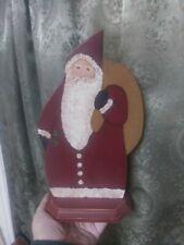 Folk Art Handmade Hand Painted Wood Santa Claus Vintage Father Christmas Xmas