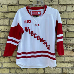 Wisconsin Badgers BIG10 Under Armour White Stitched Hockey Jersey Youth Size M