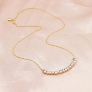 Collier Pendentif Courbe Mini Perle Plat Blanc 3mm Argent 925 Plaqué Or TZ9